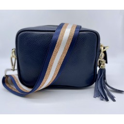Elie Beaumont Leather Crossbody Bag in Navy with Navy Copper Stripes