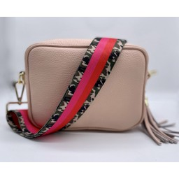 Elie Beaumont Leather Crossboday Bag in Pink with Army Stripes