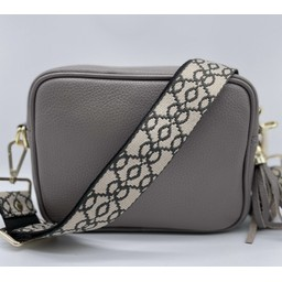 Elie Beaumont Leather Crossbody Bag in Grey with Baroque
