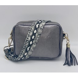 Elie Beaumont Leather Crossboday Bag in Pewter with Python