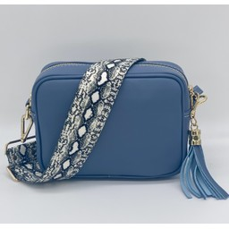 Elie Beaumont Leather Crossboday Bag in Light Blue with Python