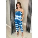 Brooke Bandeau Tie Dye Jumpsuit - Peacock