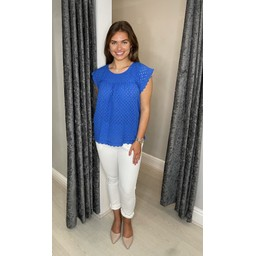 Lucy Cobb Gianna Broderie Top - Royal