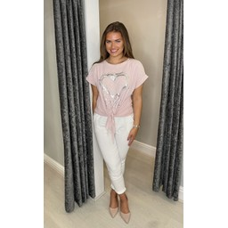 Lucy Cobb Kendra Knot Front Tee - Baby Pink