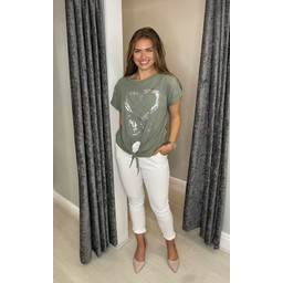 Lucy Cobb Kendra Knot Front Tee - Khaki