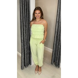 Lucy Cobb Brooke Bandeau Jumpsuit in Lime Green