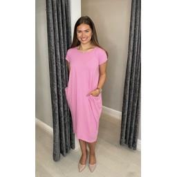 Lucy Cobb Taylor T Shirt Dress in Bubblegum Pink