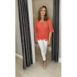 Lucy Cobb Candice Crochet Top - Coral