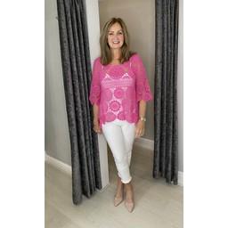 Lucy Cobb Candice Crochet Top - Fuchsia