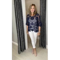 Lucy Cobb Candice Crochet Top - Navy