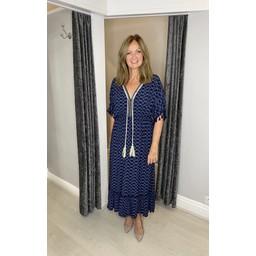 Lucy Cobb Maya Tassel Midi Dress in Navy