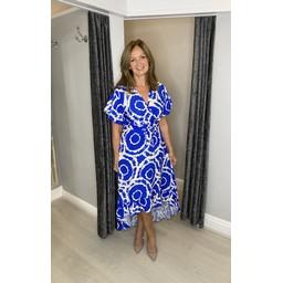 Lucy Cobb Devora Tie Dye Dip Hem Dress in Royal