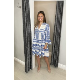 Lucy Cobb Aztec Tiered Dress in Royal