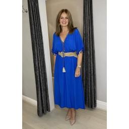 Lucy Cobb Maya Plain Tassel Dress in Royal