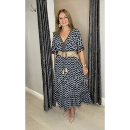Lucy Cobb Maya Tassel Midi Dress in Charcoal