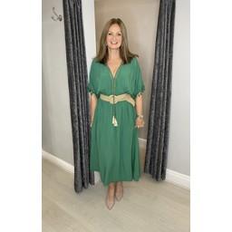 Lucy Cobb Maya Plain Tassel Dress in Green