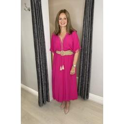 Lucy Cobb Maya Plain Tassel Dress in Fuchsia