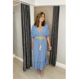 Lucy Cobb Maya Tassel Midi Dress - Denim Blue