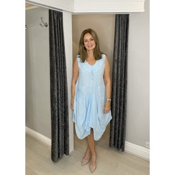 Lucy Cobb Pippa Linen Parachute Dress in Pale Blue
