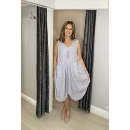 Lucy Cobb Pippa Linen Parachute Dress in Silver Grey