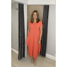 Lucy Cobb Tara Cap Sleeve Dress in Coral
