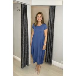 Lucy Cobb Tara Cap Sleeve Dress in Denim Blue