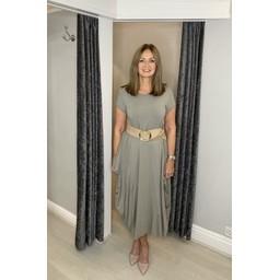 Lucy Cobb Tara Cap Sleeve Dress in Taupe