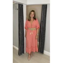 Lucy Cobb Maya Tassel Midi Dress in Coral