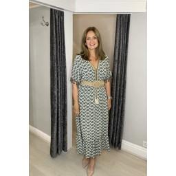 Lucy Cobb Maya Tassel Midi Dress in Khaki