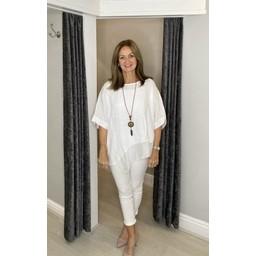 Lucy Cobb Serenity Plain Chiffon Hem Top in White