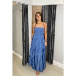Lucy Cobb Cora Bandeau Maxi Dress in Denim Blue