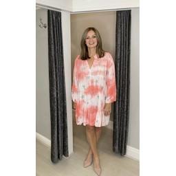 Lucy Cobb Venus Star Smock Dress in Coral