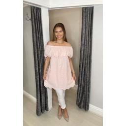 Lucy Cobb Bridget Bardot Tunic in Baby Pink