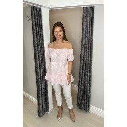 Lucy Cobb Bernie Broderie Bardot Top in Baby Pink