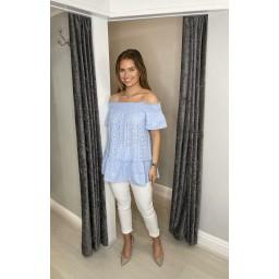 Lucy Cobb Bernie Broderie Bardot Top in Pale Blue