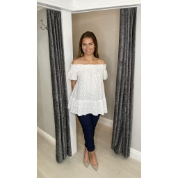 Lucy Cobb Bernie Broderie Bardot Top in White