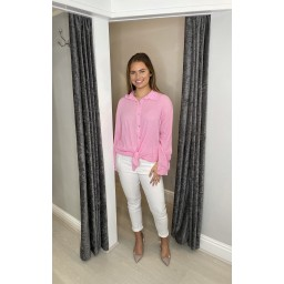 Lucy Cobb Cate Cheesecloth Tie Front Shirt - Bubblegum Pink