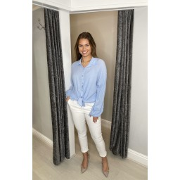 Lucy Cobb Cate Cheesecloth Tie Front Shirt - Pale Blue