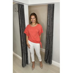 Lucy Cobb Lori Broderie Tie front Tee in Coral