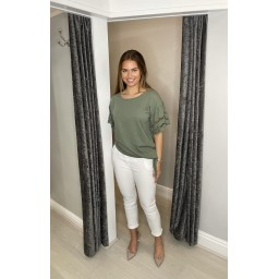 Lucy Cobb Lori Broderie Tie front Tee in Khaki