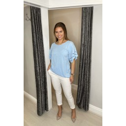Lucy Cobb Lori Broderie Tie front Tee in Pale Blue