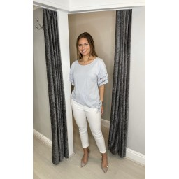 Lucy Cobb Lori Broderie Tie front Tee in Silver Grey