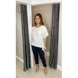 Lucy Cobb Lori Broderie Tie front Tee in White