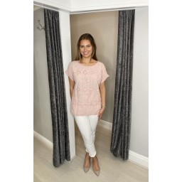Lucy Cobb Billa Broderie Front Tee in Baby Pink