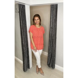 Lucy Cobb Billa Broderie Front Tee in Coral