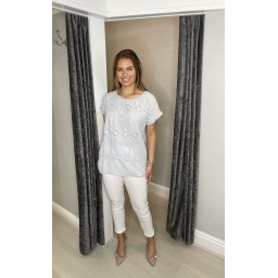 Lucy Cobb Billa Broderie Front Tee in Silver Grey