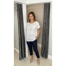 Lucy Cobb Billa Broderie Front Tee in White