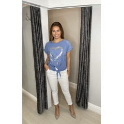 Lucy Cobb Kendra Knot Front Tee in Denim Blue