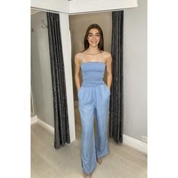Lucy Cobb Cora Bandeau Jumpsuit - Light Denim Blue