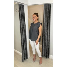 Lucy Cobb Frida Frill Sleeve Top in Charcoal